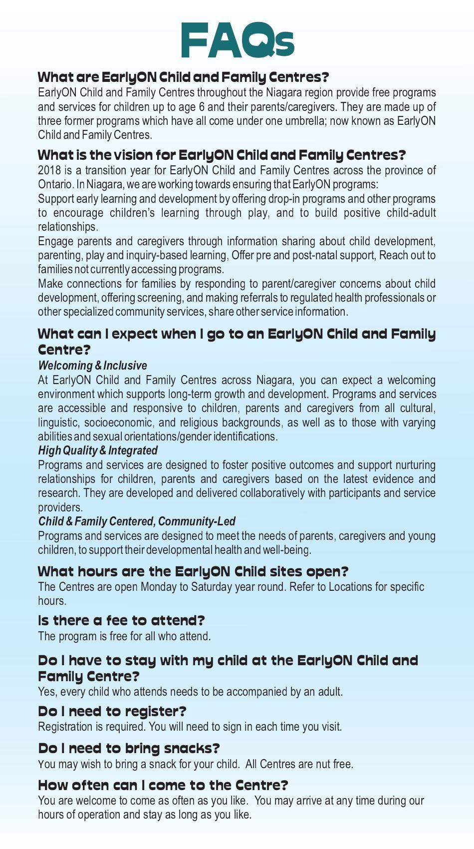 EarlyON FAQs